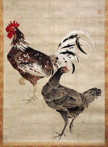 Image of Rooster and Hen on Paper