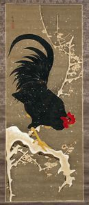 Image of Rooster Perched on a Snowy Branch