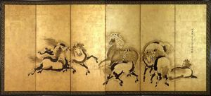Image of Horses, Right Gold Screen