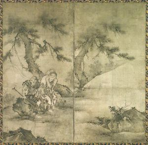Image of Chinese Figures, 2 Panel Screen