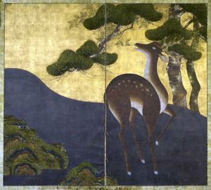Image of Deer and Pine 2 Panel