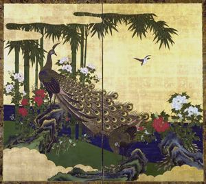 Image of Peacock and Bamboo, 2 Panel