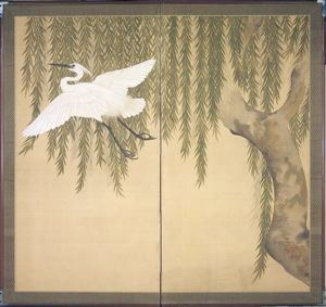 Image of Egret and Willow, 2 Panel Screen