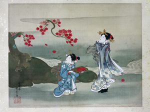 Image of Small scroll with Geisha