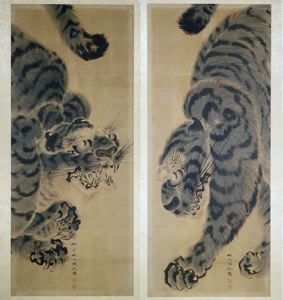 Image of Tiger, 2 Panel Sumi