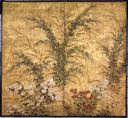 Image of Autumn Flowers, 2 Panel Screen